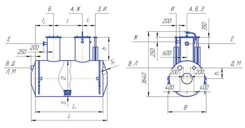 Емкость горизонтальная подземная дренажная с подогревателем