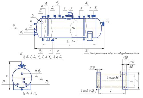 Сосуд цилиндрический горизонтальный типа ПС