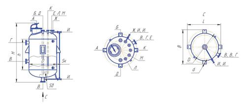 Вертикальный цельносварной аппарат с эллиптическим днищем, опоры-лапы